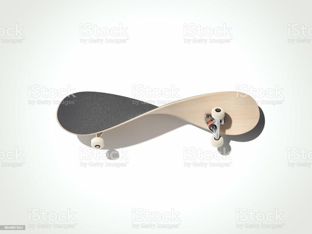 Verdrehte Skateboard isoliert auf einem weißen Hintergrund. 3D render - Lizenzfrei Ausrüstung und Geräte Stock-Foto