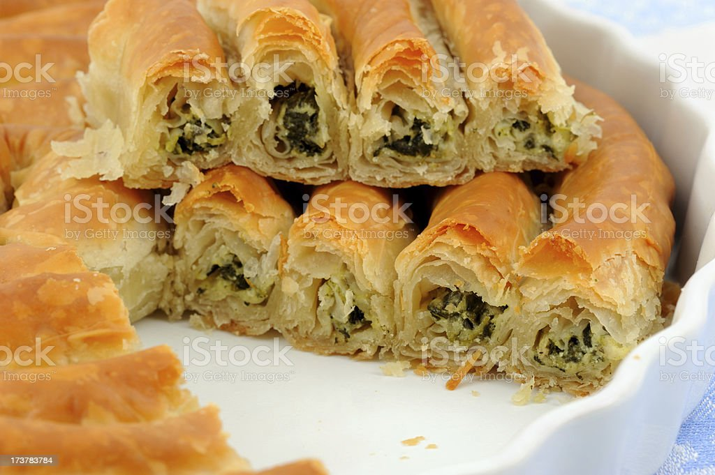 Twisted Spanakopita from Greece stock photo