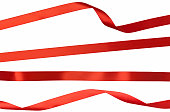Twisted Straight and Curled Red Isolated Ribbon Strips on White
