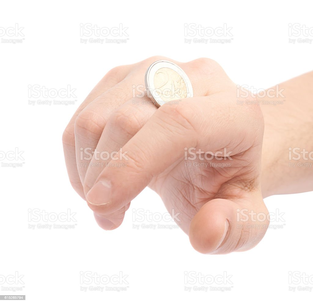 Twisting coin with the knuckles stock photo