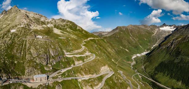 Twisting roads in the Swiss Alps stock photo