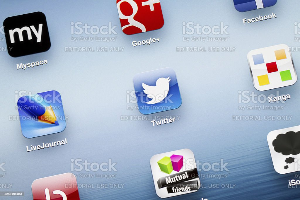 Twitter App icon on New iPad royalty-free stock photo