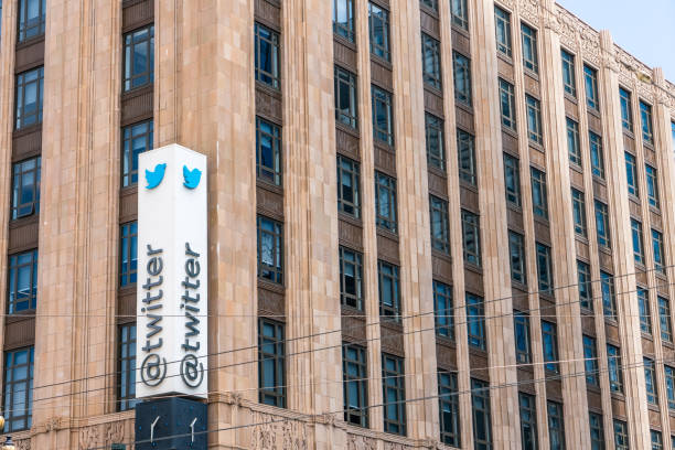 twitter-zentrale in der innenstadt von san francisco - instant messaging stock-fotos und bilder