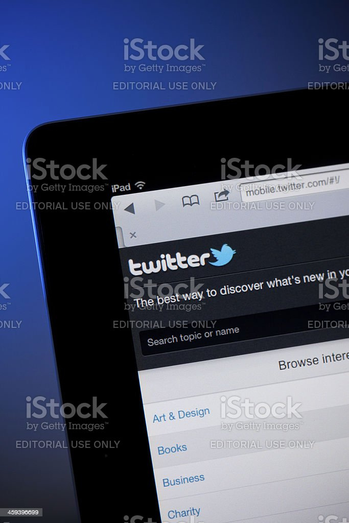 Twitter home page on iPad royalty-free stock photo