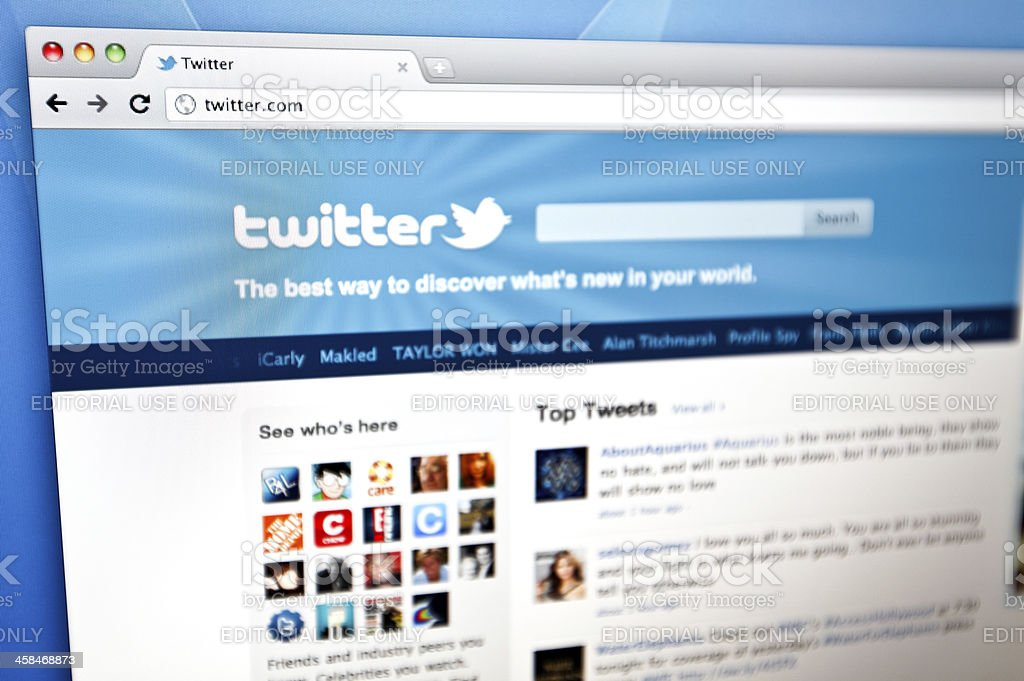 Twitter homepage. stock photo