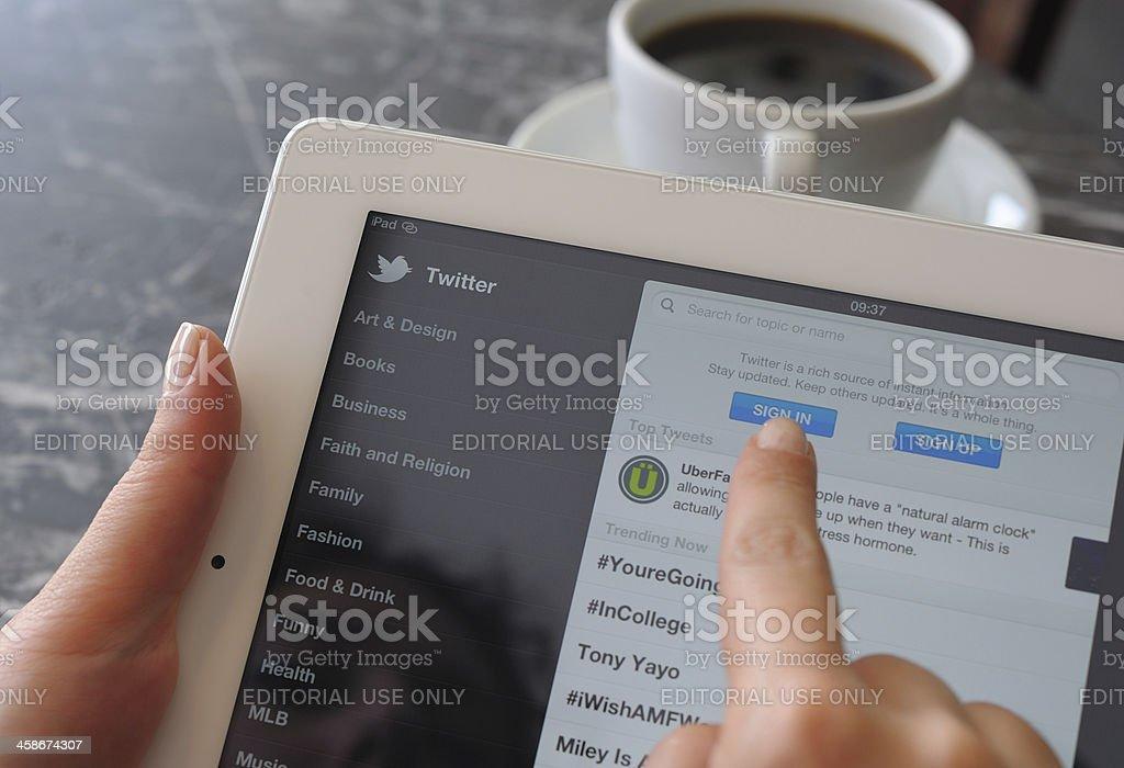 Twitter on iPad 3 stock photo