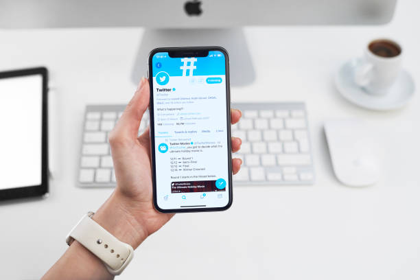 Twitter Profile on Apple iPhone X stock photo