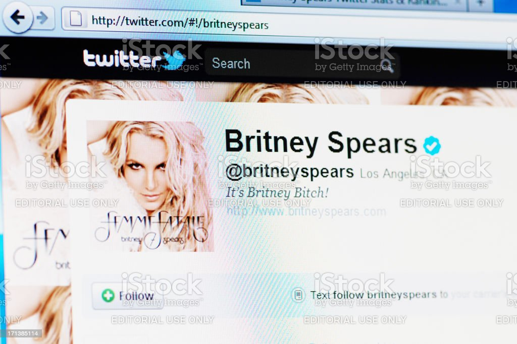 Twitter profile page of Britney Spears on RGB laptop monitor stock photo
