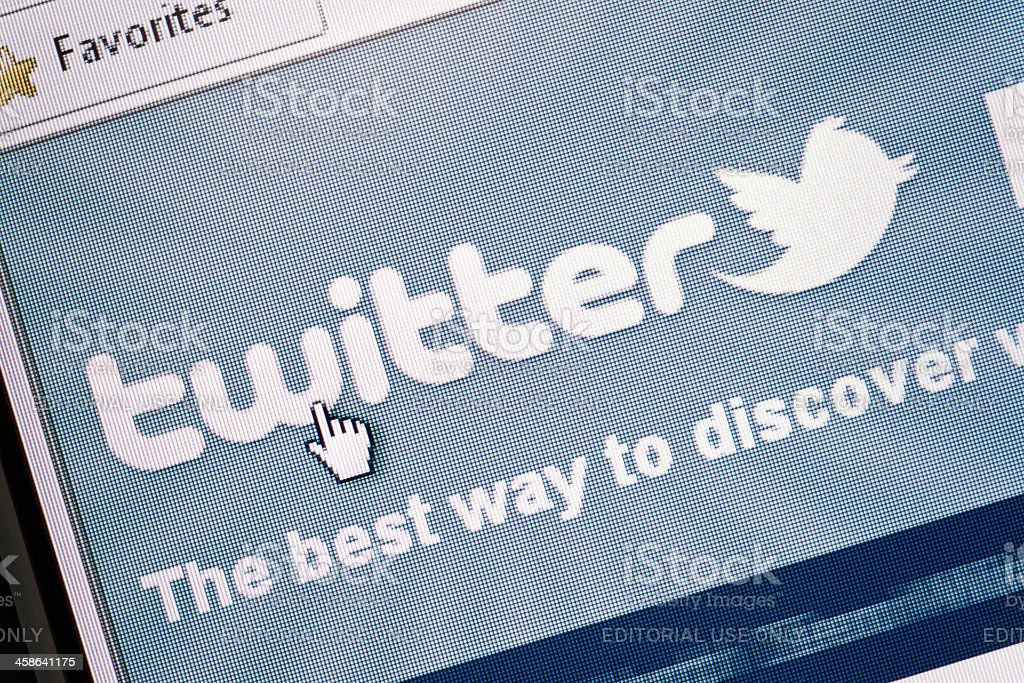 Twitter site in Internet Explorer browser on LCD screen royalty-free stock photo