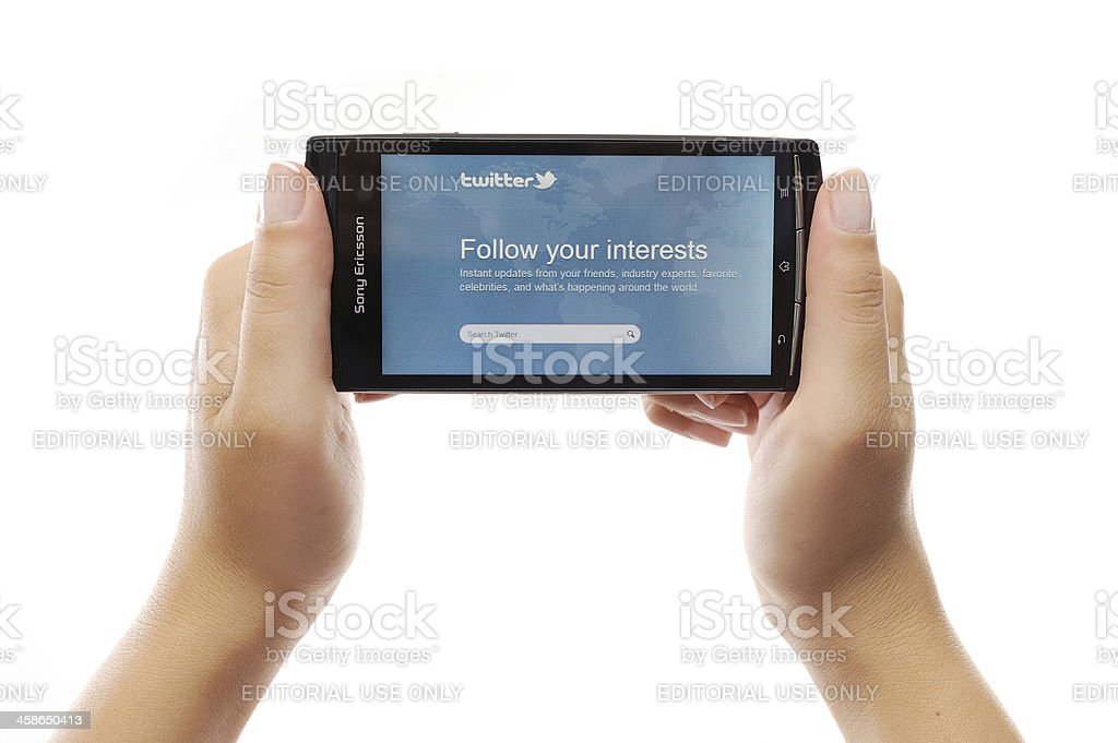 Twitter web page on smart phone royalty-free stock photo