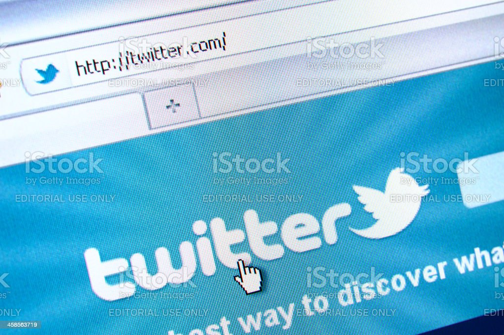 Twitter webpage on the browser royalty-free stock photo