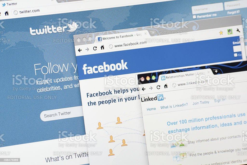 Twitter.com, Facebook.com and Linkedin.com Home Pages stock photo