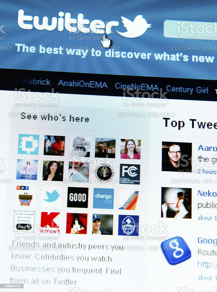 Twitter.com site on laptop screen stock photo
