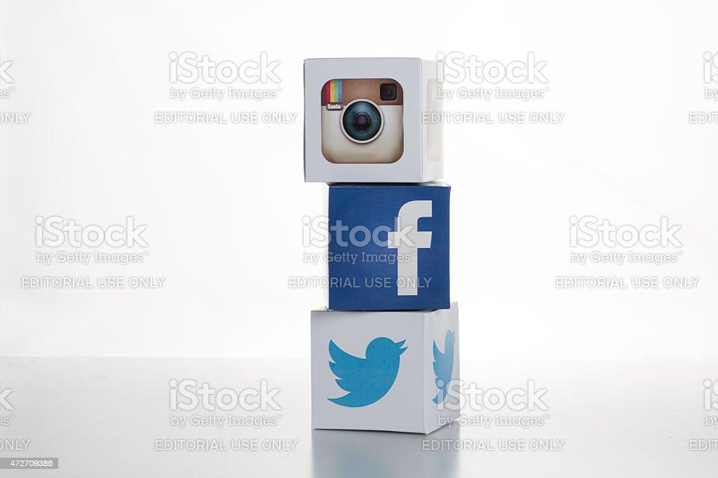 Twitter,Facebook,Instagram Logos on Cubes stock photo