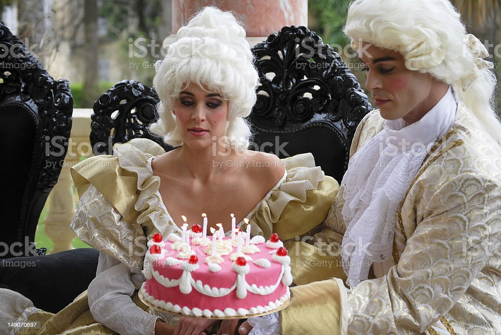 Two 18th century courtiers celebrate birthday stock photo