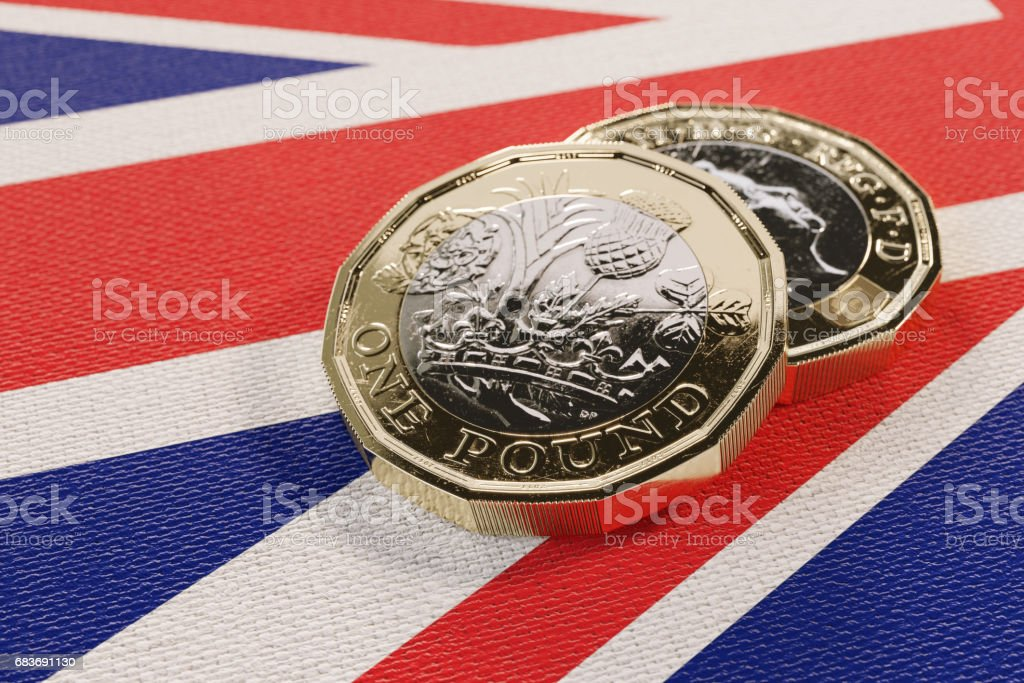 2017 British Pound Coins Resting Flag Stock Photo Royalty Free