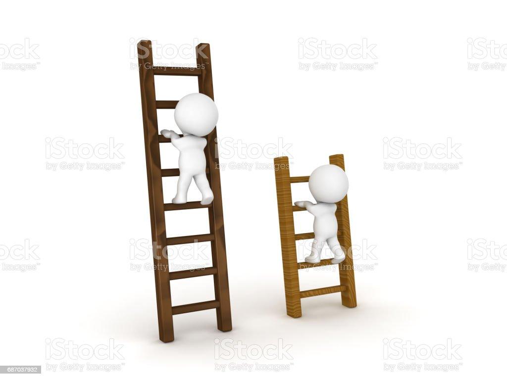 Zwei 3D Charaktere, die auf verschiedene Arten von Leitern klettern Lizenzfreies stock-foto