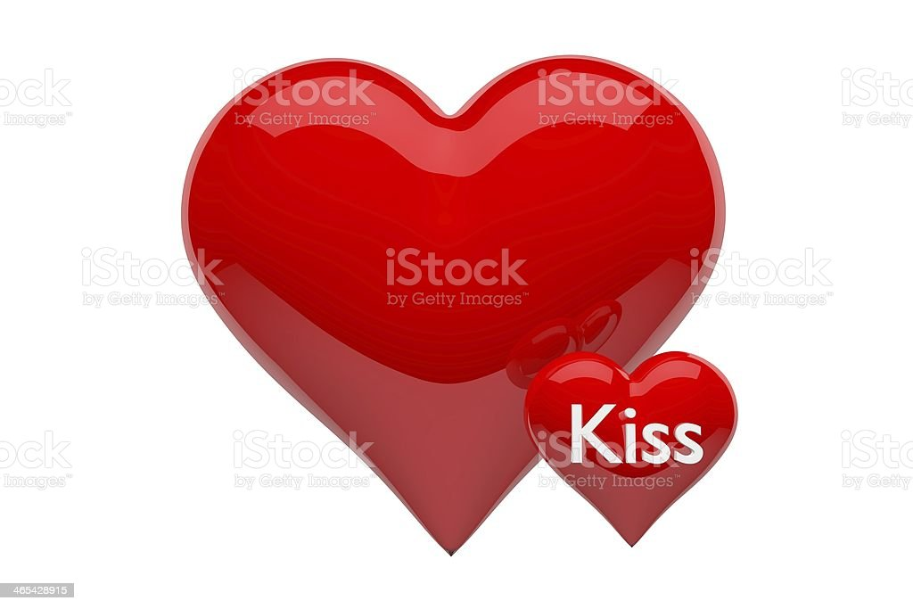 Two 3d Glossy Red Hearts One Heart With The Text Kiss Stock Photo