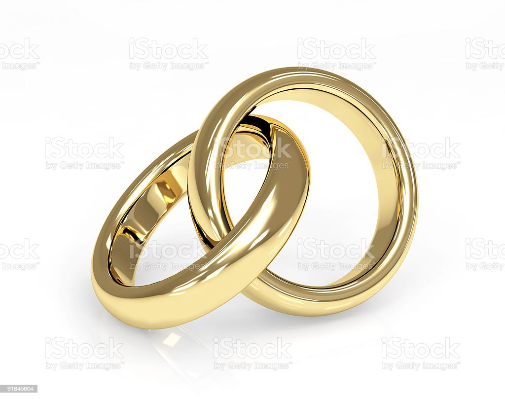Two 3d gold wedding ring royalty-free stock photo