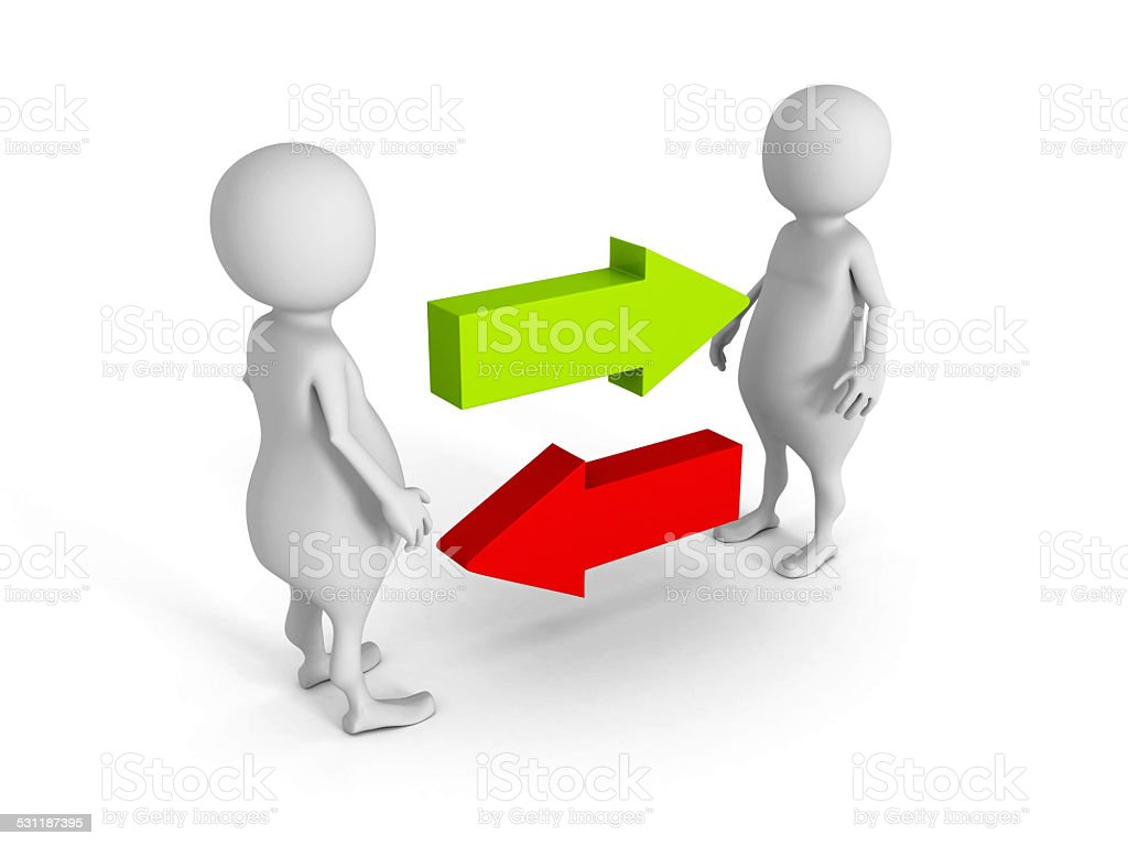 two 3d men exchange connection concept with arrows stock photo