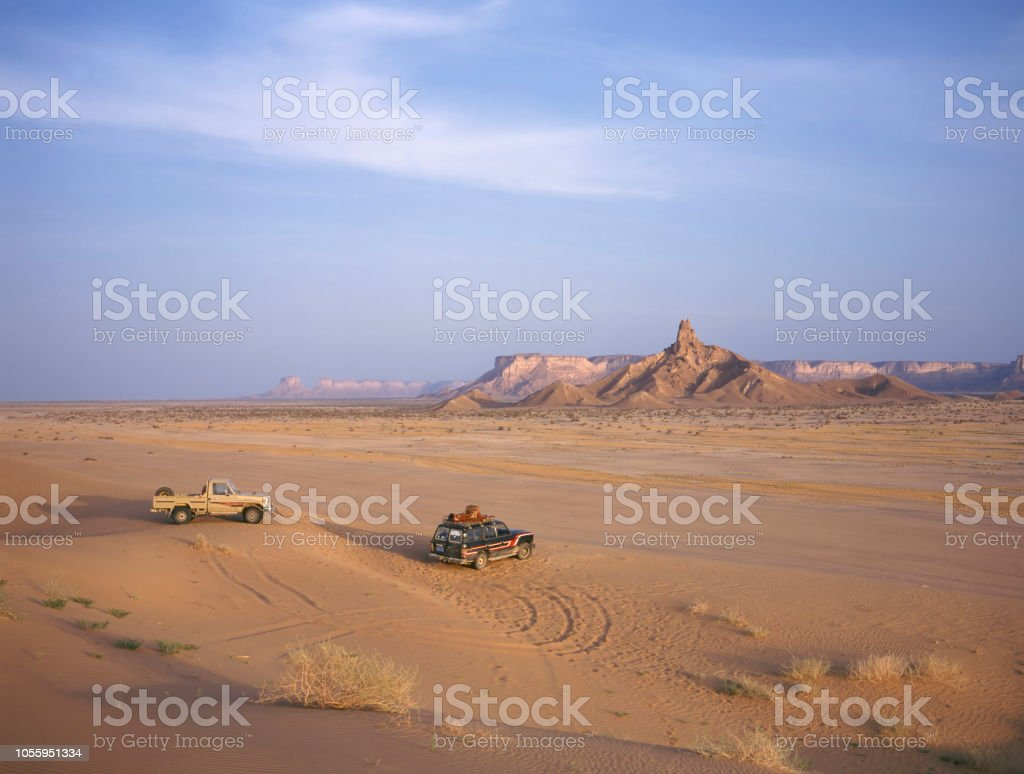 Two 4WD cars meeting each other stock photo