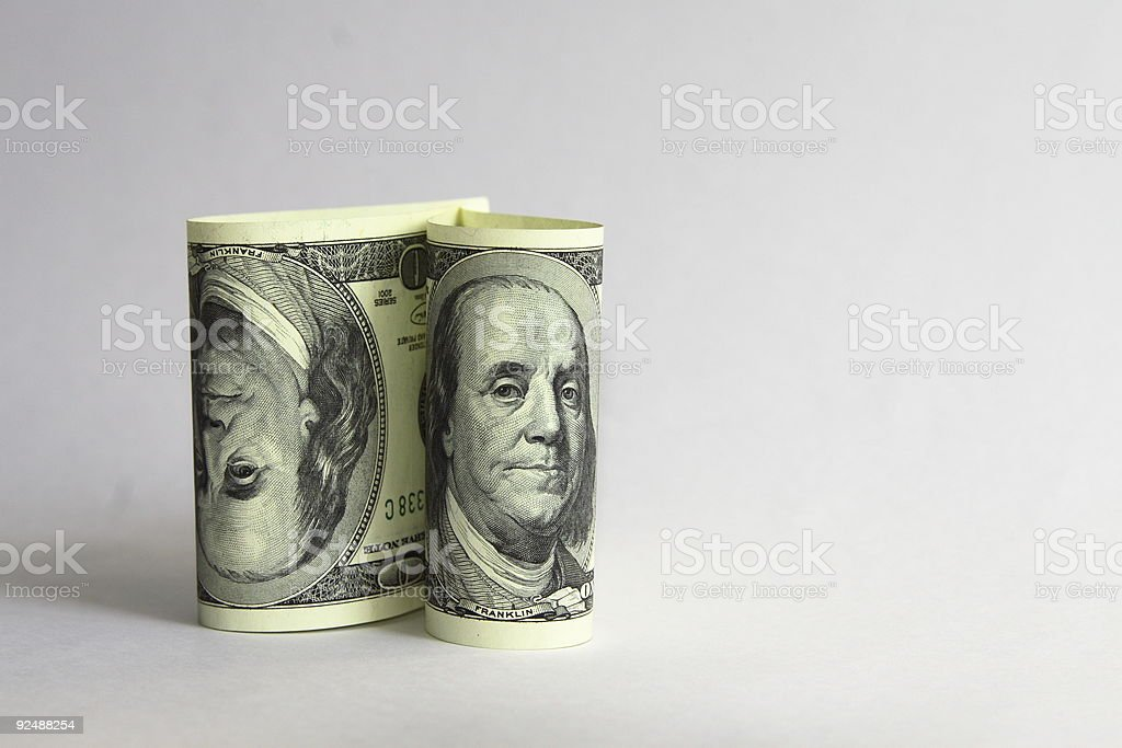Two a hundred-dollar notes royalty-free stock photo