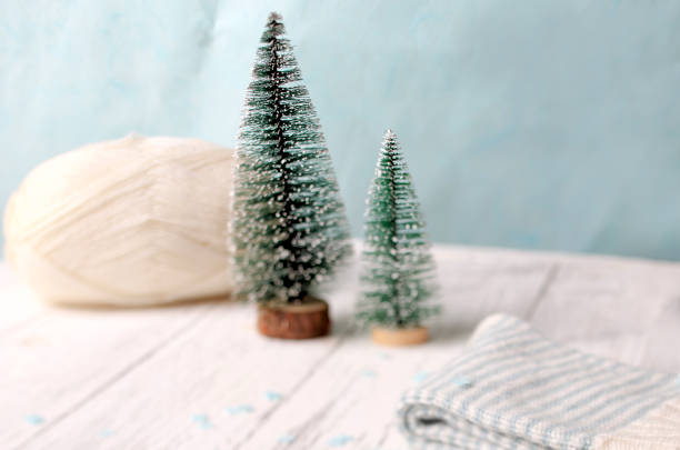 Two A Little Christmas Tree With Ball Of Yarn Stock Photo More
