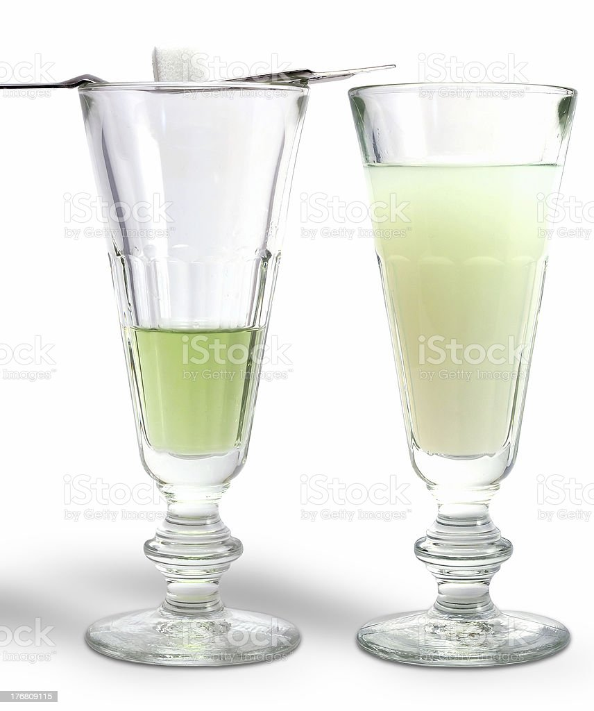 Two absinthe glasses stock photo