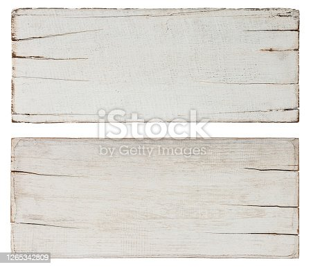 Two abstract, old, worn, weathered, cracked white wood planks along their edges, lots of texture, good copy space in the center of the planks. Isolated on white, clipping path included. Great backdrops as signs for rural and rustic copy space design.