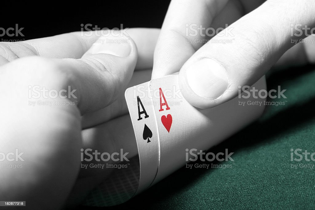 Two Aces in poker game - high contrast stock photo