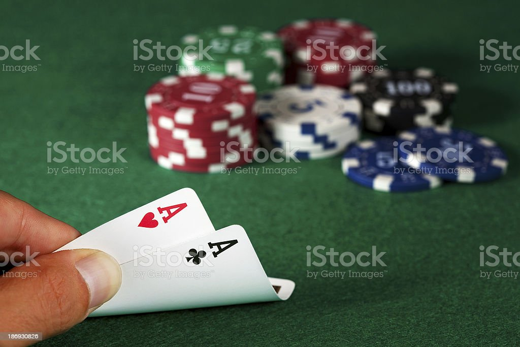 Two aces in the hand stock photo
