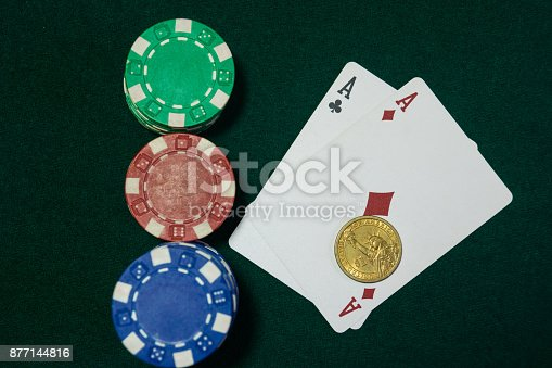 istock Two aces under the Golden dollar. A textured background.Copy paste place. 877144816