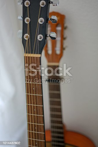 1014432572 istock photo Two acoustic guitars, neck view 1014432602