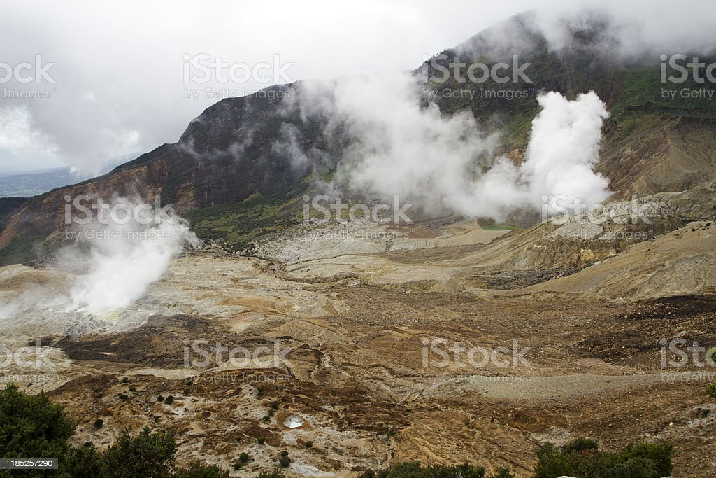 Two active craters at Papandayan Volcano stock photo