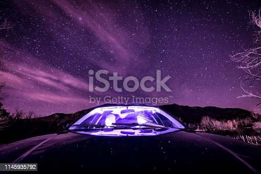 527894422 istock photo Two Adult Men Relaxing While Traveling With Car at Night 1145935792