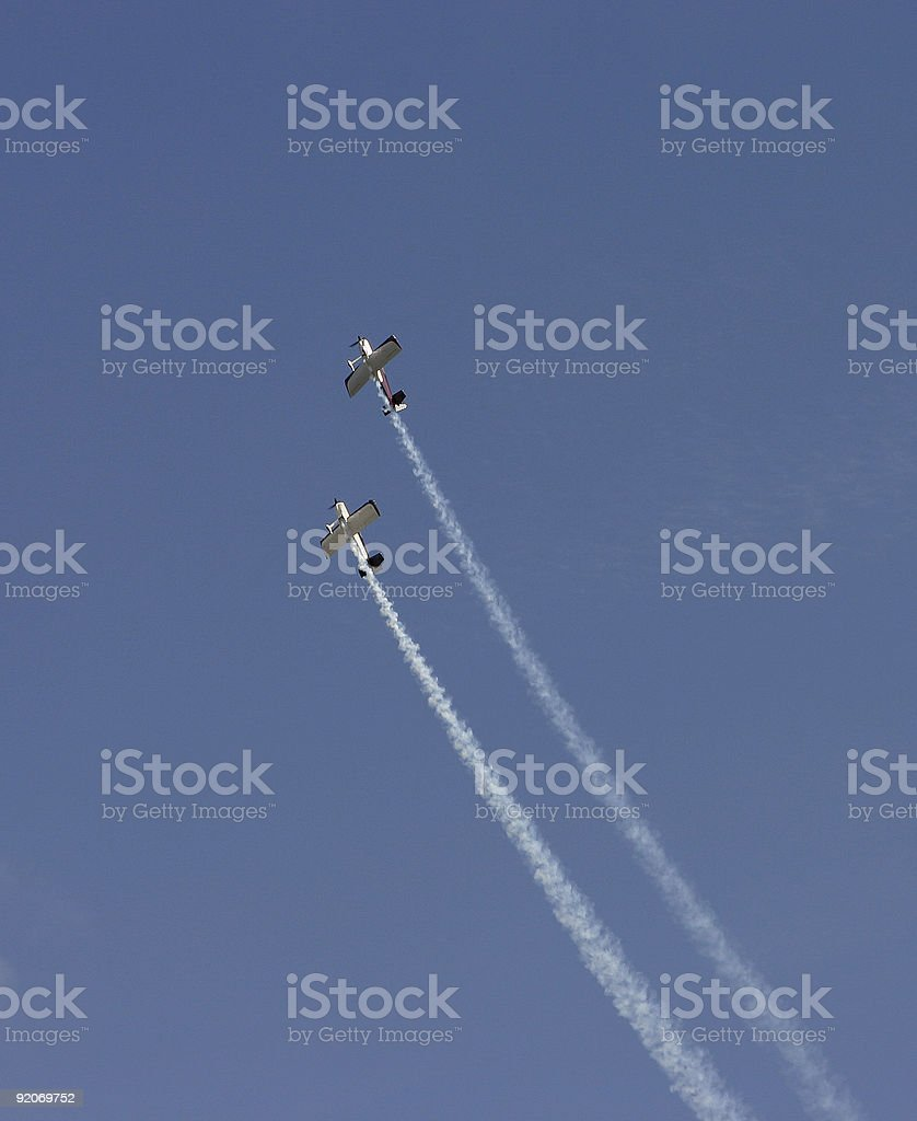 Two aerobatic airplanes at airshow royalty-free stock photo