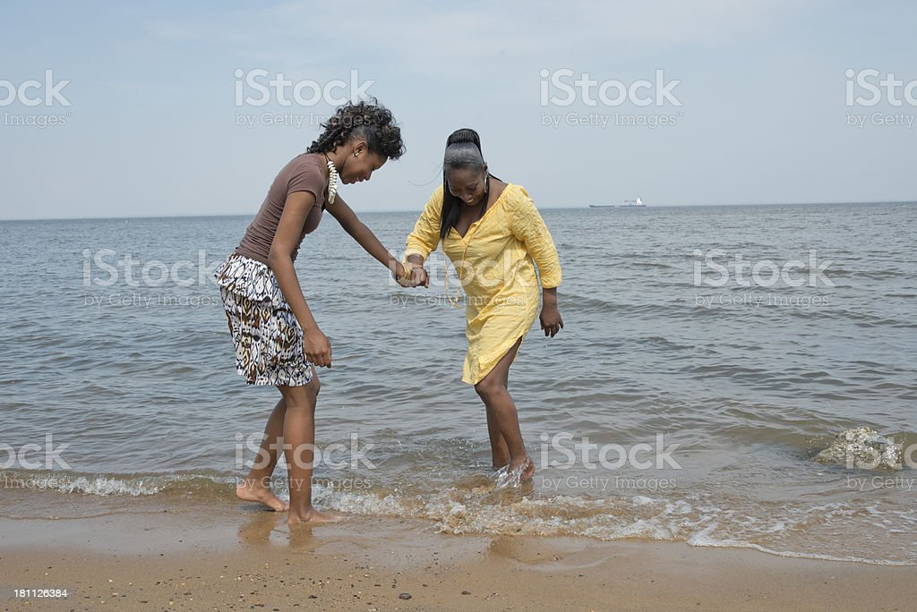 Two African American Women Wading on Beach royalty-free stock photo
