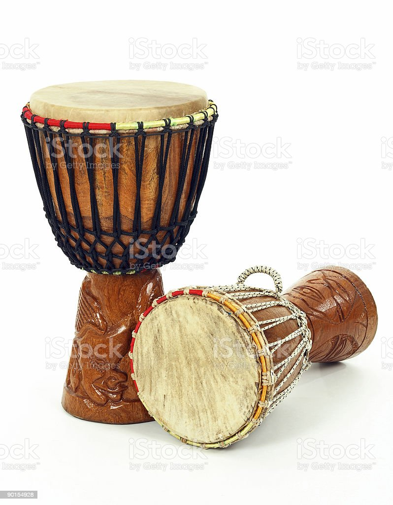 Two African djembe drums stock photo