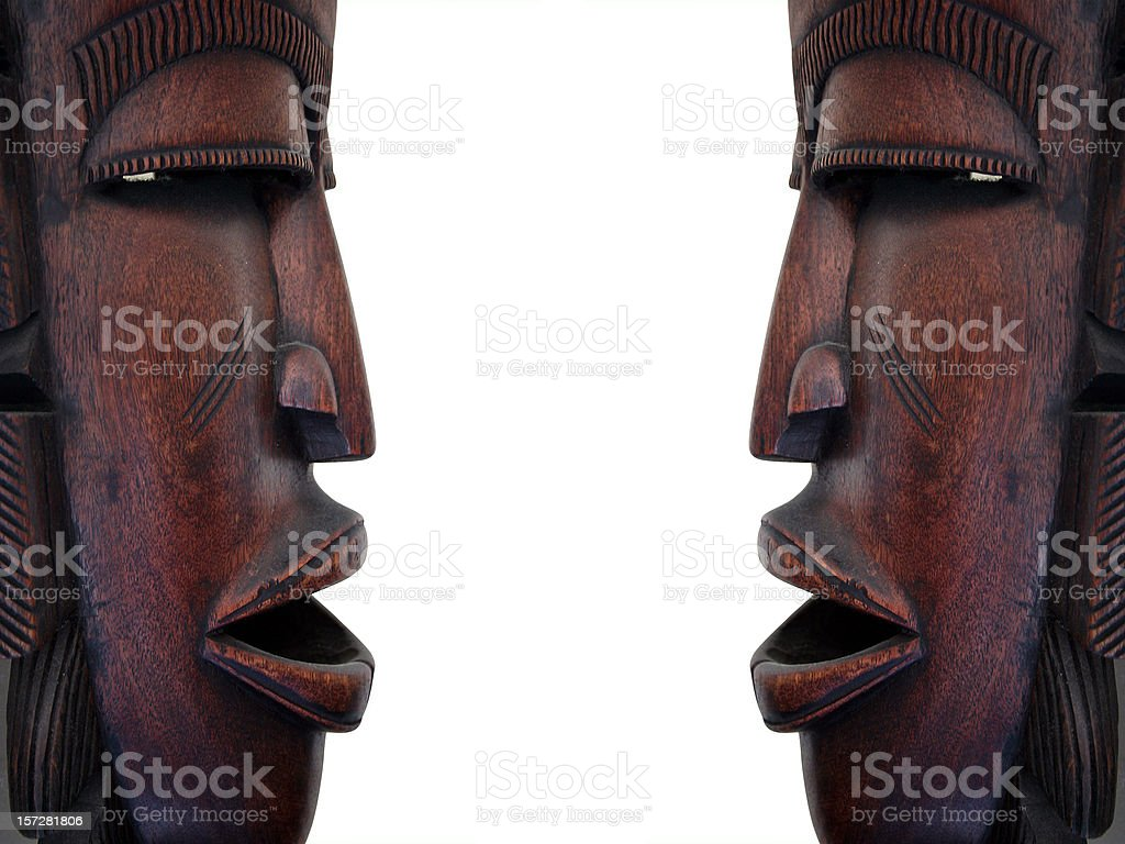 Two African Masks: Diplomatic Negotiations royalty-free stock photo