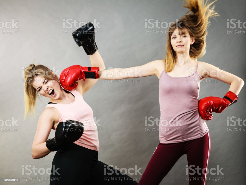 90278022f Two Agressive Women Having Boxing Fight Stock Photo - Download Image ...