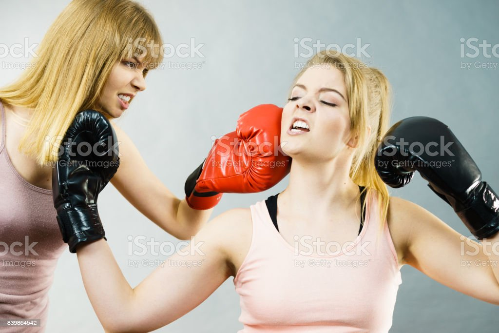 2d4f947c4 Two Agressive Women Having Boxing Fight Stock Photo & More Pictures ...