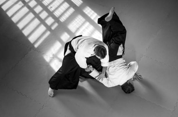 Two Aikido Fighters stock photo