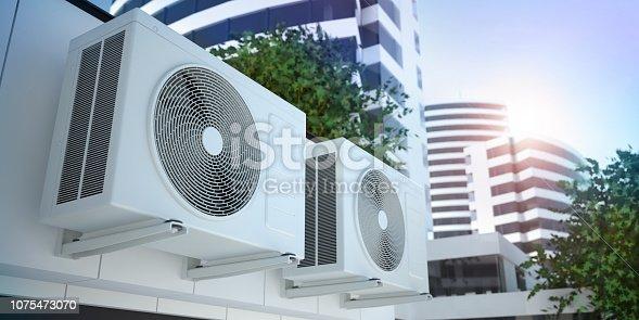 Air compressors, 3D illustration
