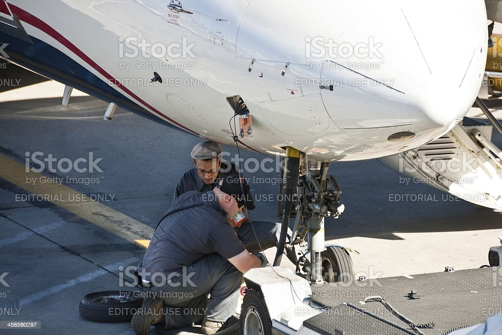 Replacing a Landing Gear Tire royalty-free stock photo