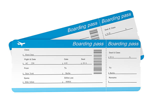 two airplane boarding passes that have not been torn - aeroplane ticket stock photos and pictures