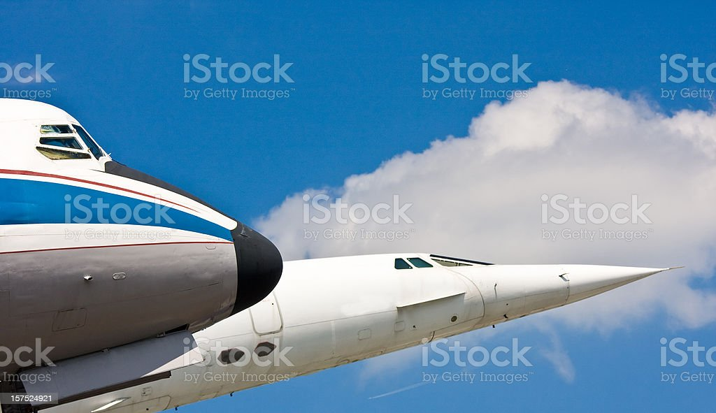 two airplane cockpits against blue sky royalty-free stock photo
