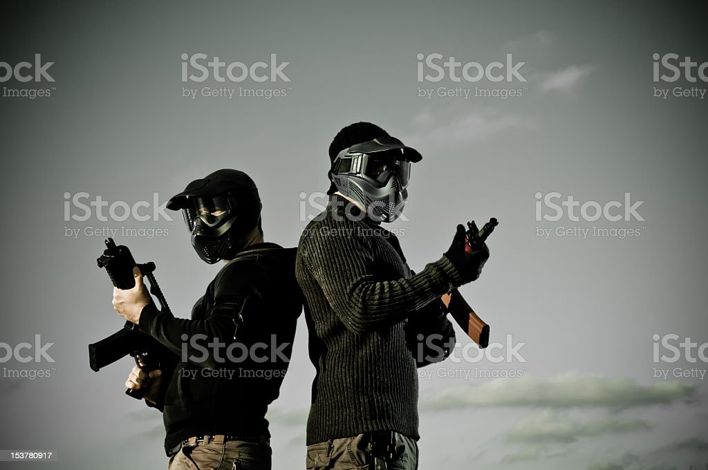 Two airsoft players royalty-free stock photo