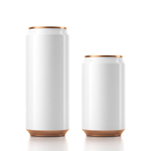 Two Aluminum Can Mockup in white and golden color stock photo