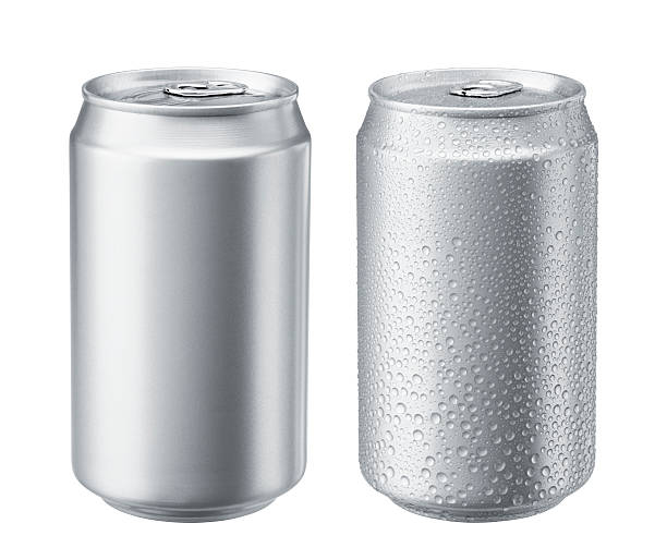 two aluminum cans with one exhibiting sweat - 錫 個照片及圖片檔