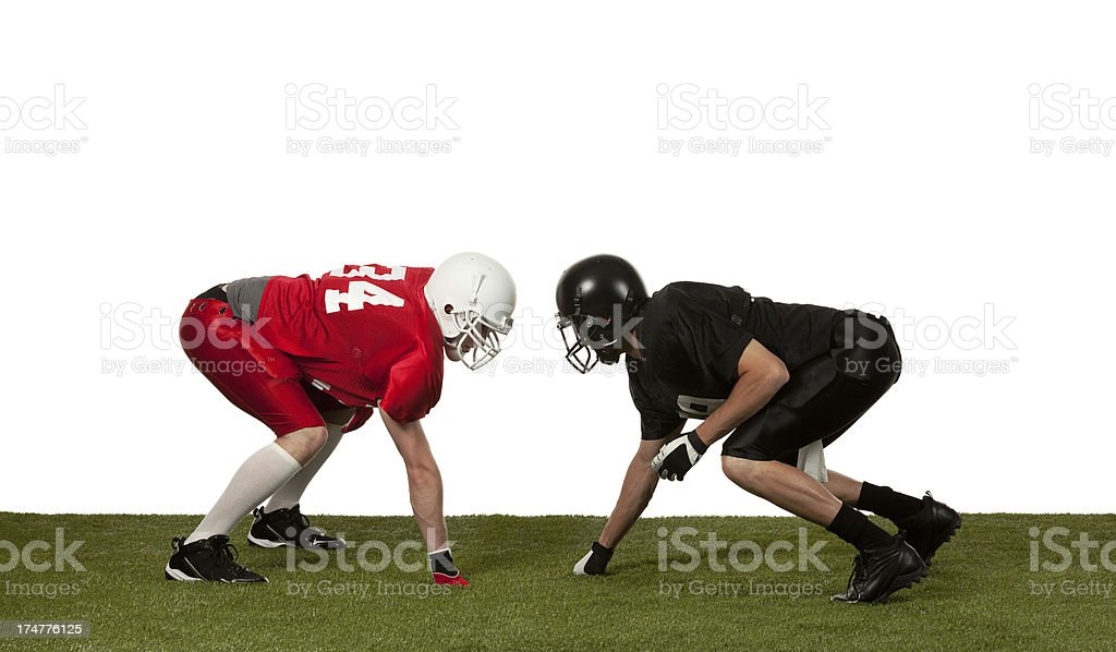 Two american football players in action royalty-free stock photo
